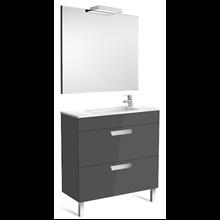 Pack meuble gris 80 cm compact 2 tiroirs Debba Roca