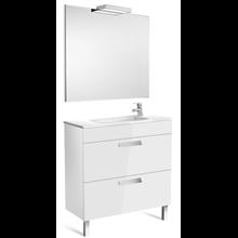 Pack meuble blanc 80 cm compact 2 tiroirs Debba Roca