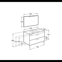 Pack meuble gris 80 cm 2 tiroirs Debba Roca