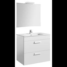 Pack meuble blanc 80 cm 2 tiroirs Debba Roca