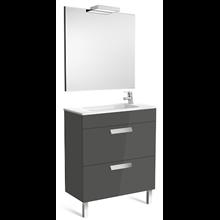 Pack meuble gris 70 cm compacte 2 tiroirs Debba Roca