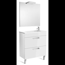 Pack meuble blanc 70 cm compacte 2 tiroirs Debba Roca