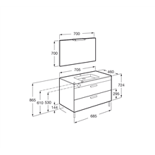 Pack meuble gris 70 cm 2 tiroirs Debba Roca