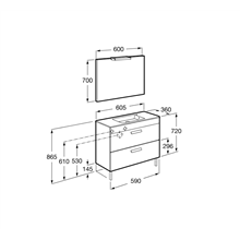 Pack meuble gris 60 cm compacte 2 tiroirs Debba Roca