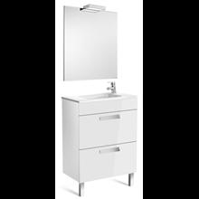 Pack meuble blanc 60 cm compacte 2 tiroirs Debba Roca