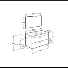 Pack meuble gris 60 cm 2 tiroirs Debba Roca