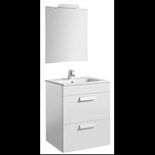 Pack meuble blanc 60 cm 2 tiroirs Debba Roca