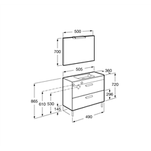 Pack meuble gris 50cm compact 2 tiroirs Debba Roca