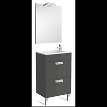 Pack meuble gris 50 cm compact 2 tiroirs Debba Roca