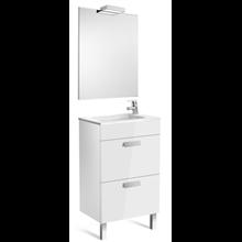 Pack meuble blanc 50cm compact 2 tiroirs Debba Roca