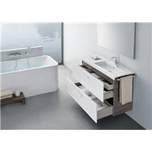Pack meuble 110 cm deux tiroirs blanc-frêne Prisma Roca