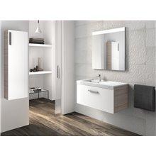 Pack meuble 90 cm un tiroir blanc-frêne Prisma Roca