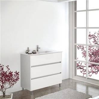Meuble avec plan vasque blanc brillant Imperia TEGLER