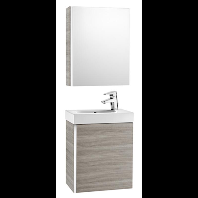 meuble sable avec armoire de toilette et miroir mini roca. Black Bedroom Furniture Sets. Home Design Ideas