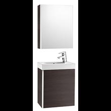 Meuble wengé avec armoire de toilette et miroir Mini Roca