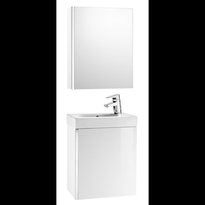 meuble blanc avec armoire de toilette et miroir mini roca. Black Bedroom Furniture Sets. Home Design Ideas