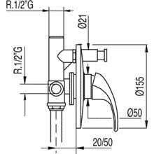 Robinet encastré 2 voies MONO-TRES 2000
