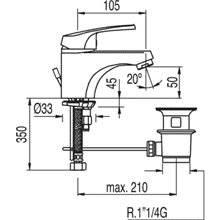 Robinet de lavabo ECO avec bonde ECO-TRES