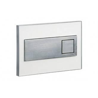 Plaque de chasse chromée cadre en verre couleur blanche SQUARE Sanindusa