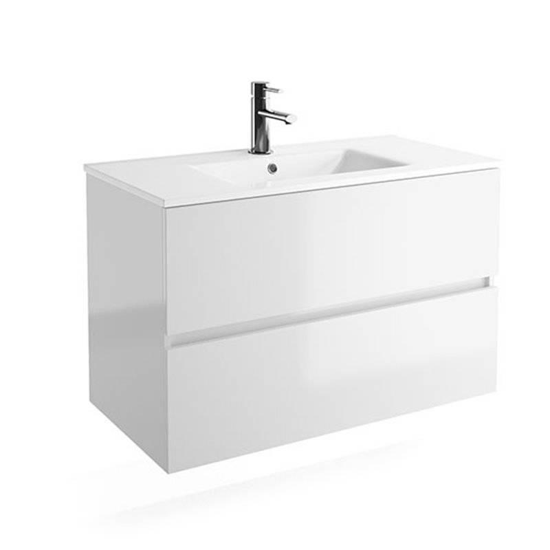 Meuble 91 cm blanc brillant 2 tiroirs Fussion Line Salgar