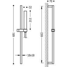 Kit de douche avec barre coulissante CUADRO-SLIM TRES