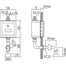 Robinet encastré d'urinoir électronique chromé TRES