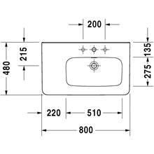 Lavabo asymétrique à droite pour meuble 80 avec trop-plein DuraStyle Duravit