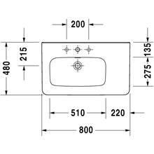 Lavabo asymétrique à gauche pour meuble 80 avec trop-plein DuraStyle Duravit