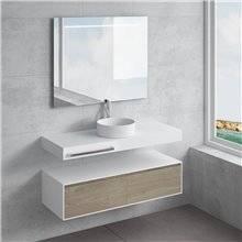 Ensemble plan de toilette + vasque à poser ACIS avec porte-serviettes NATUGAMA