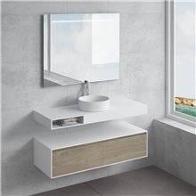 Ensemble plan de toilette + vasque à poser ACIS avec tiroir NATUGAMA