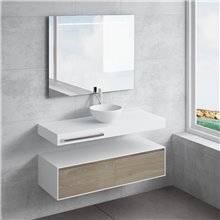 Ensemble plan de toilette + vasque à poser CALIPSO avec porte-serviettes NATUGAMA