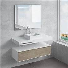 Ensemble plan de toilette + vasque à poser GALATEA avec porte-serviettes NATUGAMA