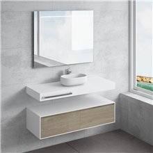 Ensemble plan de toilette + vasque à poser NEREIDA avec porte-serviettes NATUGAMA