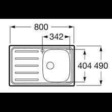 Évier 80x49 cm égouttoir à gauche J Roca