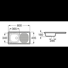 Évier 80x43,5 cm égouttoir à droite J Roca