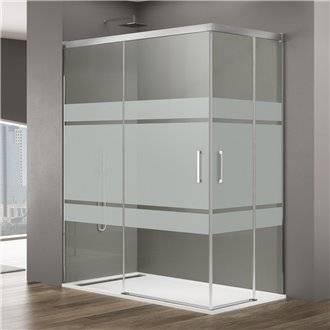 Pare-douche d'angle 2 portes coulissantes avec motifs BASIC GME