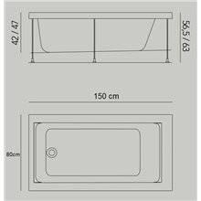 Baignoire Jazz S encastrée 150 x 80 cm avec structure B10