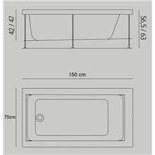 Baignoire Jazz S encastrée 150 x 70 cm avec tabliers b10