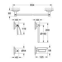 Crochet et ensemble de 4 accessoires de salle de bains Grohe Essentials