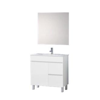 Meuble avec plan vasque 60 blanc brillant Ísquia TEGLER