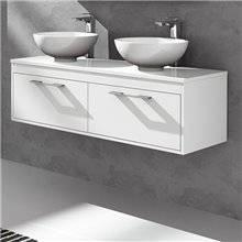 Meuble avec plan de toilette blanc brillant Florencia TEGLER